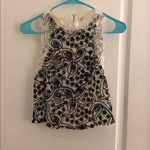Zara white / black lace top, NWOT